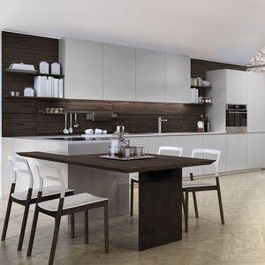 cocina contemporánea / de vidrio / de acero inoxidable / de aluminio