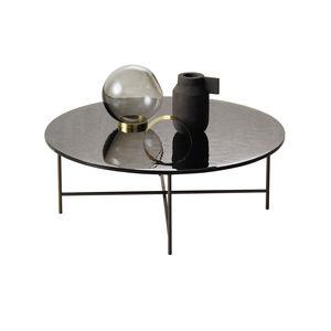 mesa de centro contemporánea / de vidrio / con base metálica / redonda