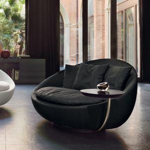 sillón contemporáneo / de tejido / de cuero / de metal lacado