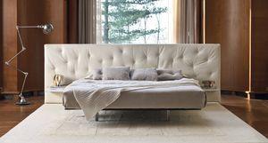 cama de matrimonio / contemporánea / con cabecero tapizado / con mesita de noche integrada