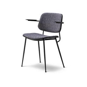 silla contemporánea / tapizada / de tejido / de roble