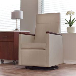 sillón médico de tejido / de madera / reclinable / beis