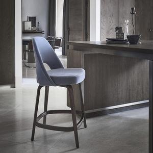 silla de bar contemporánea / tapizada / de tejido / de roble