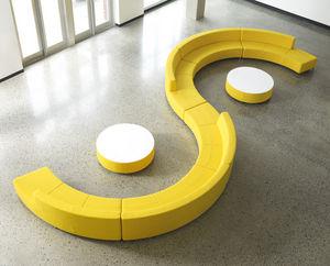 banqueta modular / contemporánea / de tejido / para edificio público