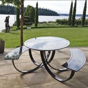 mesa de pícnic contemporánea / de metal / redonda / ovalada
