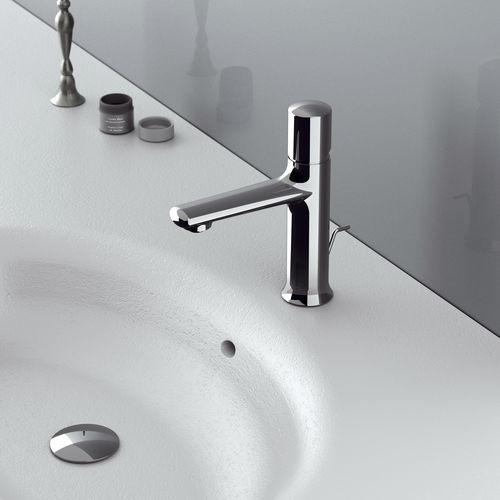 grifo monomando para lavabo / de latón cromado / de baño / con 1 orificio