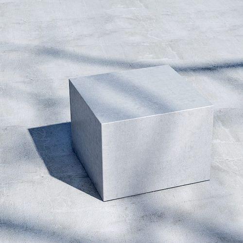 taburete contemporáneo / de hormigón / para espacio público / cuadrado