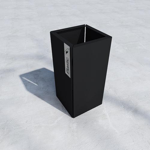 cubo de basura público / de hierro / contemporáneo
