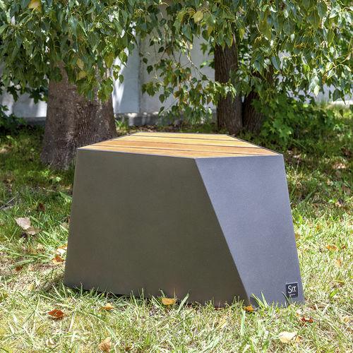 taburete contemporáneo / de madera / de hierro / para espacio público