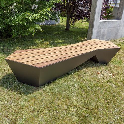 banco público / contemporáneo / de madera / de hierro