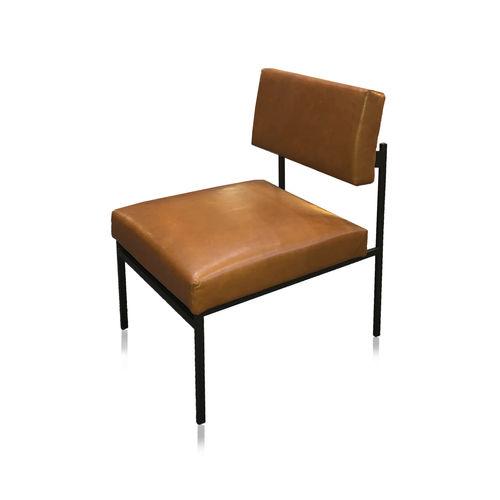 sillón bajo contemporáneo / de tejido / de cuero / de metal