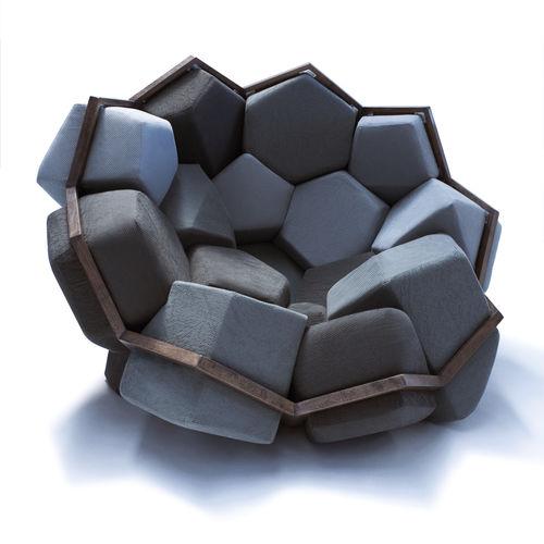 sillón de diseño original / de haya / de fibras vegetales / respetuoso con el medioambiente