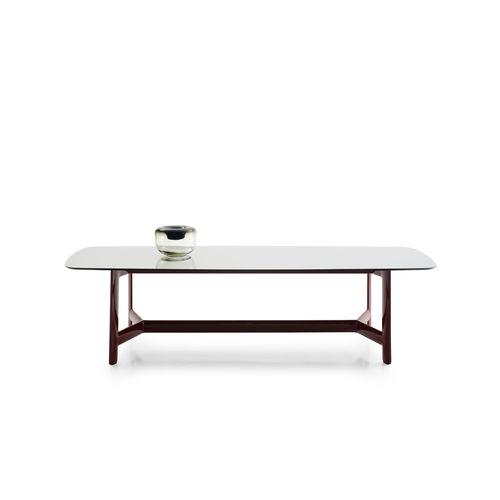 mesa contemporánea / de eucalipto / de vidrio / de mármol