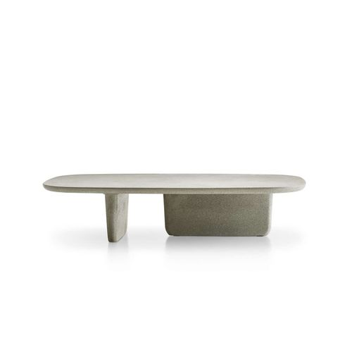 mesa de centro moderna / de acero inoxidable / de hormigón / de termoplástico