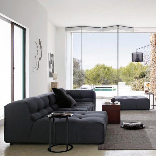 sofá modular / contemporáneo / de cuero / de tejido