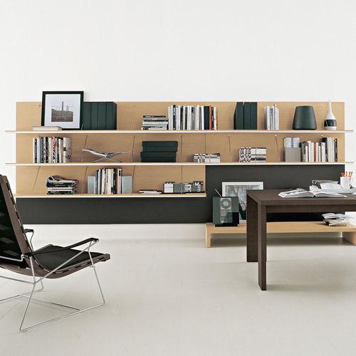biblioteca mural / moderna / de madera lacada / de vidrio