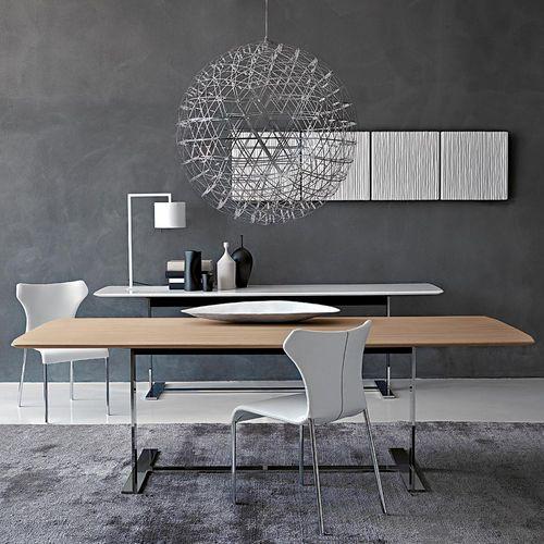 mesa contemporánea / de metal / de mármol / con base metálica