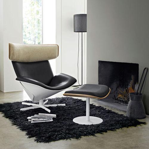sillón de diseño escandinavo / de roble / de cuero / de lana merino