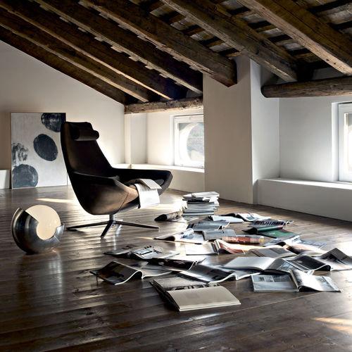 sillón contemporáneo / de tejido / aluminio / de cuero