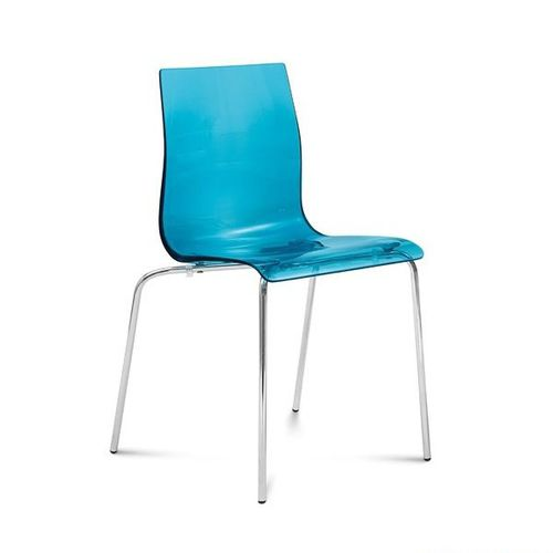 silla moderna / de metal / de fibra acrílica / azul