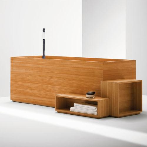 bañera independiente / ovalada / de material compuesto reforzado con fibra de vidrio / de madera