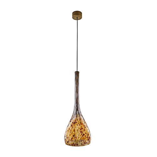 lámpara suspendida / contemporánea / de acero pintado / de vidrio soplado