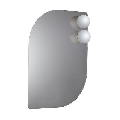 espejo para baño de pared / con luz / contemporáneo / de metal