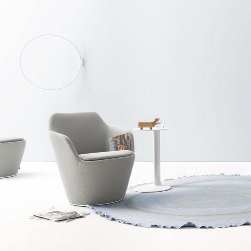 sillón contemporáneo / de tejido / giratorio / con ruedas