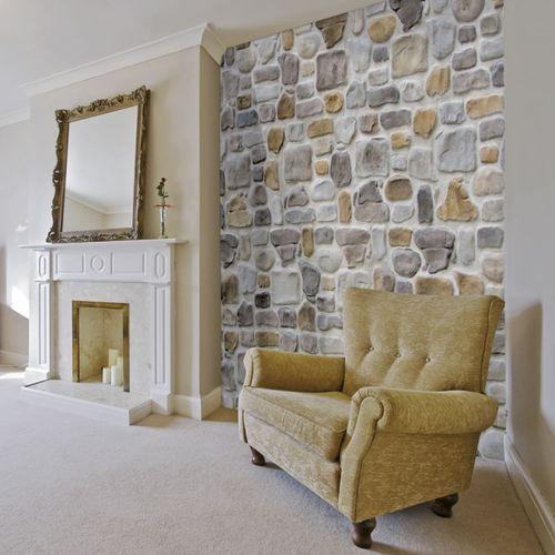 revestimiento de pared de hormigón / para uso residencial / embutido / aspecto piedra