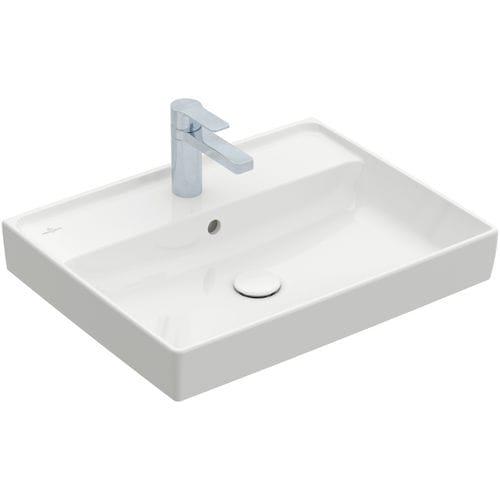 lavabo mural / rectangular / de cerámica / contemporáneo