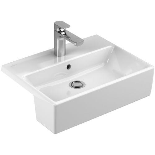 lavabo semiencastrado / rectangular / de porcelana / contemporáneo