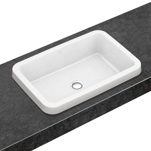 lavabo encastrable / rectangular / de porcelana / contemporáneo