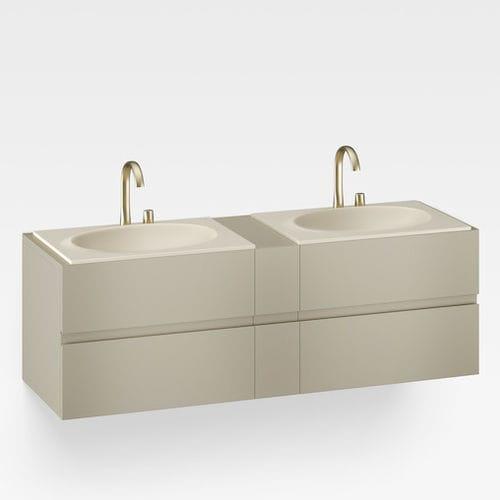 mueble de lavabo doble / suspendido / de MDF / contemporáneo