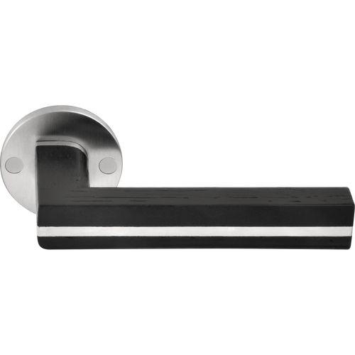manilla para puerta / de acero inoxidable / de roble / contemporánea