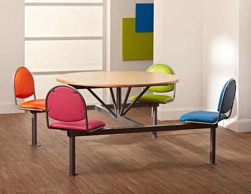 conjunto de mesa y silla contemporáneo / de metal / laminado / tapizado