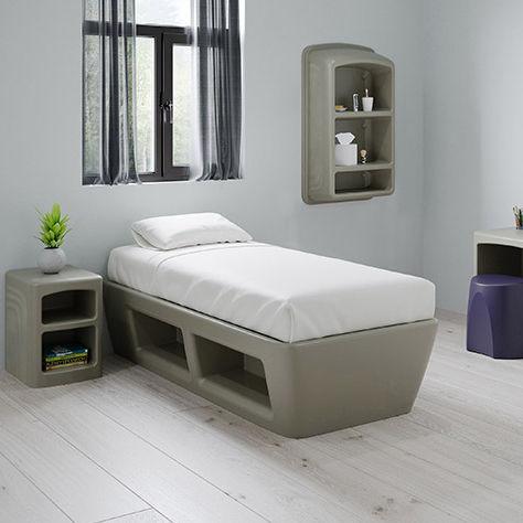 cama individual / contemporánea / tapizada / de polímero