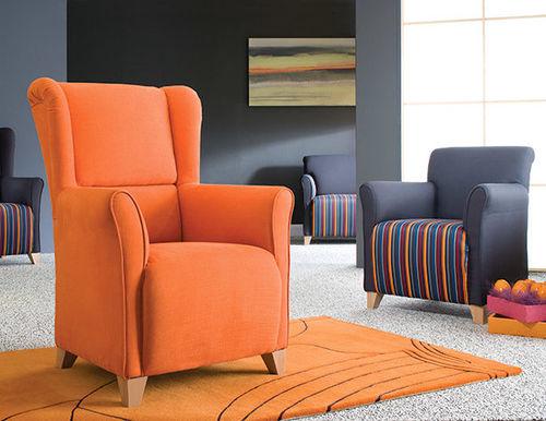 sillón clásico / de tejido / naranja