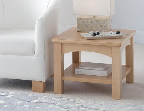 mesa de centro contemporánea / de material laminado / con base de haya / rectangular