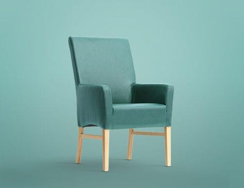silla contemporánea / tapizada / con reposabrazos / con respaldo alto