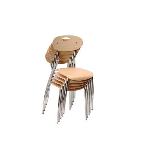 silla contemporánea / apilable / de contrachapado / de cromo