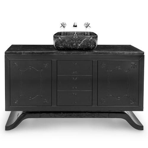 mueble de lavabo de pie / de madera lacada / de mármol / moderno