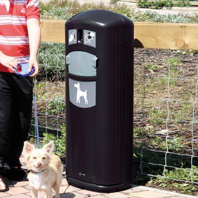 cubo de basura canino / de metal / con dispensadore de bolsas / para excrementos de perro