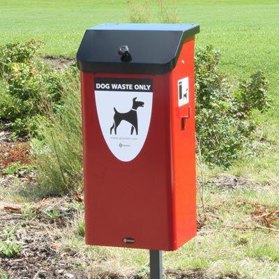 cubo de basura público / de acero / para excrementos de perro / contemporáneo