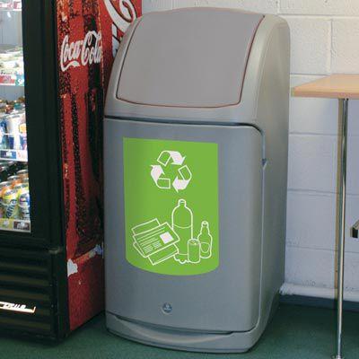 cubo de basura público / de plástico reciclado / de reciclaje / contemporáneo