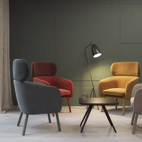 sillón contemporáneo / de tejido / de haya / de cuero artificial