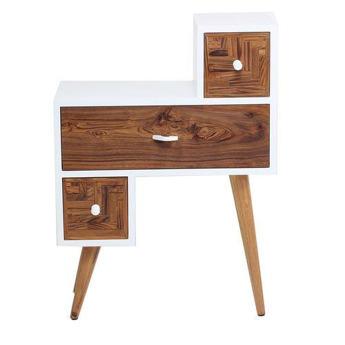mesilla de noche clásica / de madera maciza / de teca / rectangular