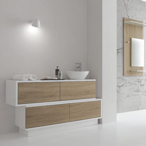 mueble de lavabo de pie / de madera lacada / moderno / con cajones
