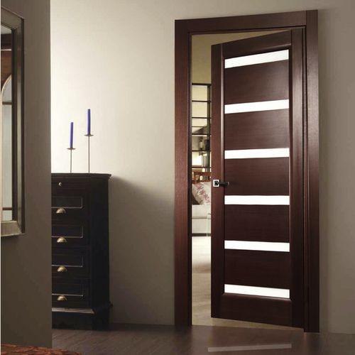 puerta de interior / abatible / de madera maciza / semividriada