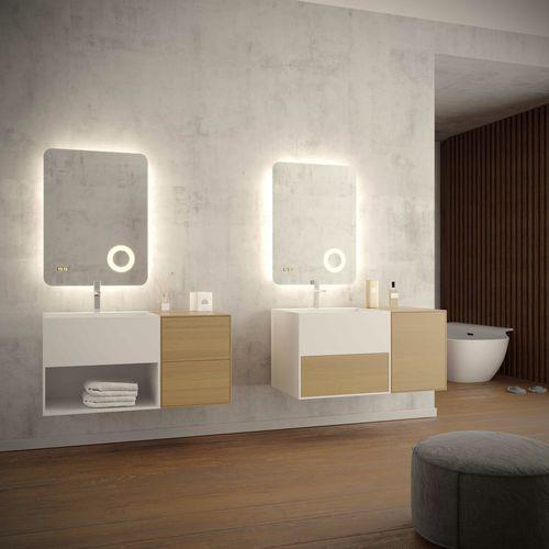 mueble de lavabo suspendido / de pie / de roble / de nogal
