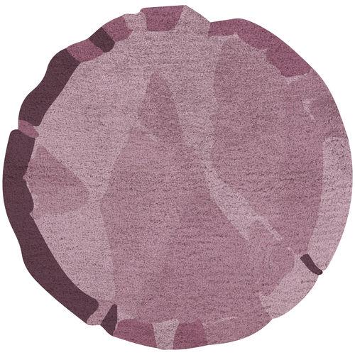 alfombra contemporánea / con motivos / de lana / redonda